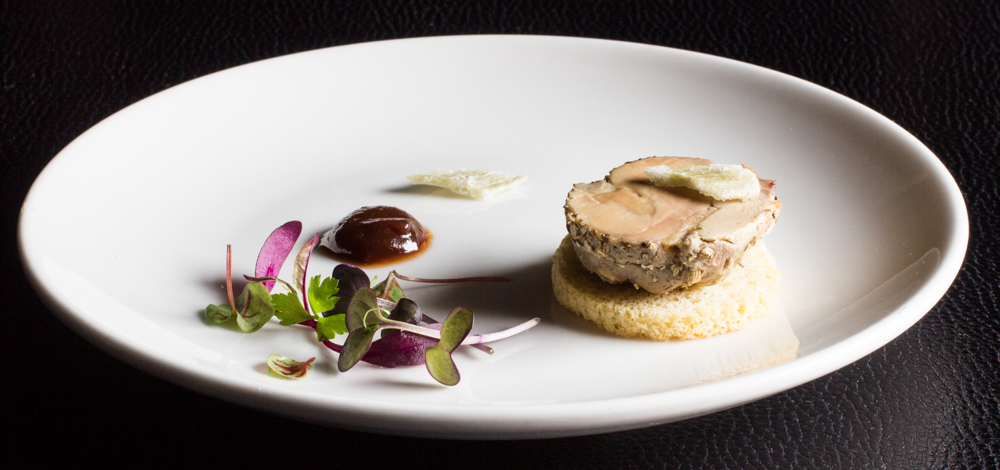 Foie Gras Torchon with Crab Apple Butter and Angelica Two Ways