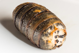 Chicken Roulade with Black Trumpet Mushrooms and Lardo