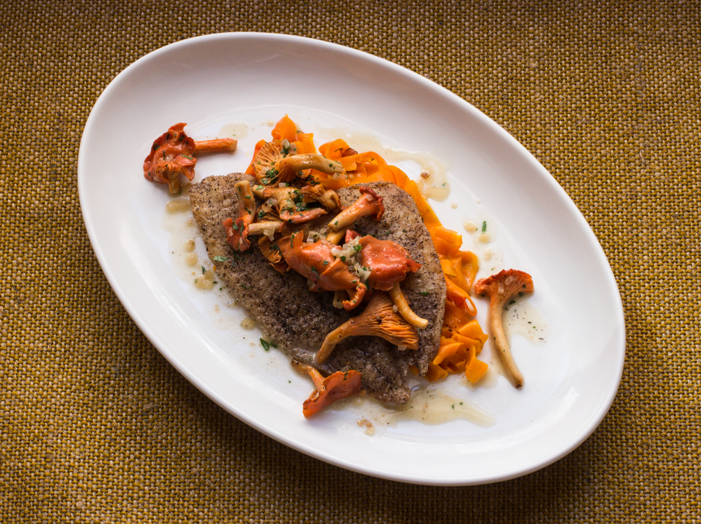 red chanterelle, chanterelle, sole, buckwheat, carrot ribbon,