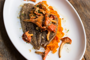 Buckwheat Sole With Red Chanterelles and Carrot Ribbons