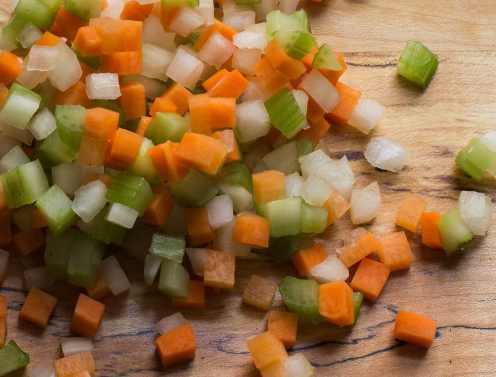 carrot, onion, celery, mirepoix, brunoise