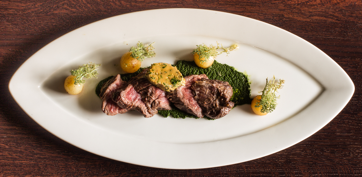 Smoked Hanger Steak with Dandelion Puree and Puffball Butter