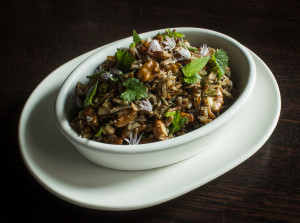 Wood Parched Wild Rice, Black Walnuts, Wild Herbs and Green Garlic