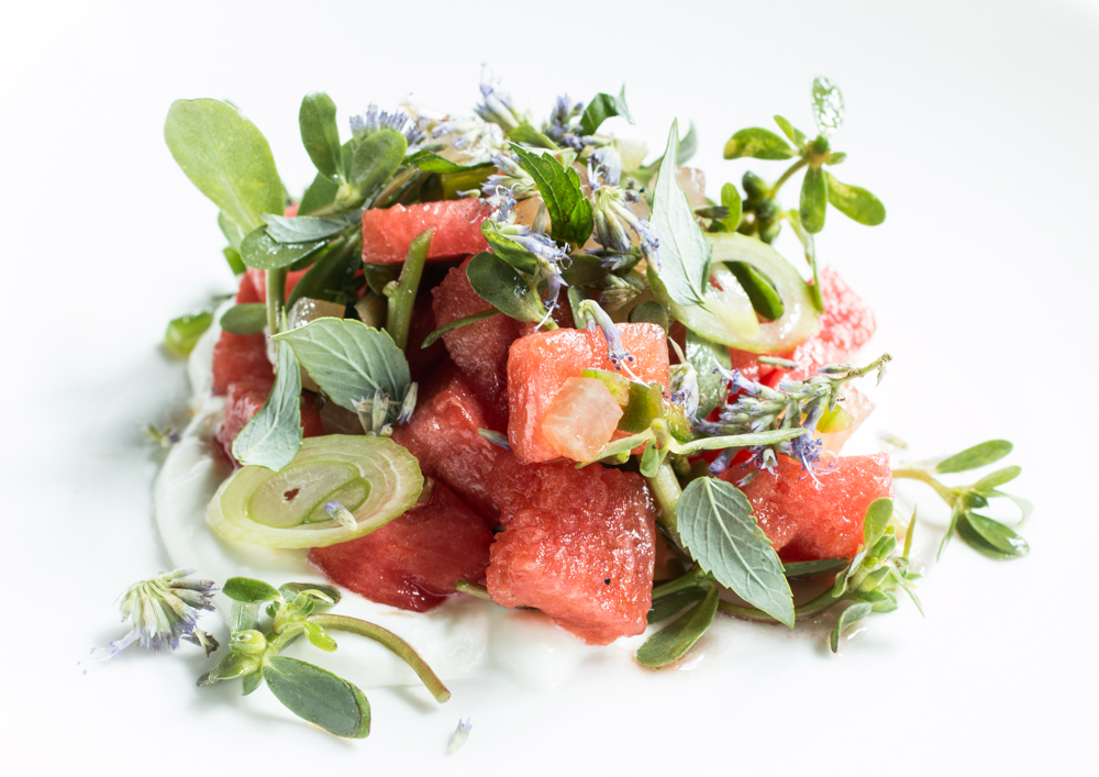 Watermelon Salad With Purslane, Goat Cheese, Jalapeno, and Anise Hyssop
