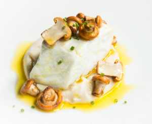 Braised Halibut With Chanterelles and Acorn Oil
