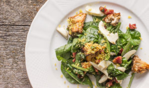Hen of the woods mushroom and spinach salad with bacon vinaigrette