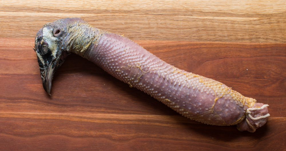 Peacock neck sausage