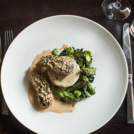 Pheasant mousseline with morel mushrooms and spring vegetables