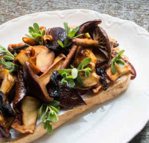Wild Mushroom Tartine with Purslane and Pickled Vegetables