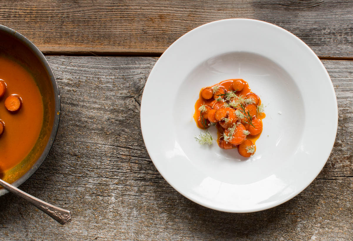 Heirloom Carrots Cooked in Carrot Juice, With Wild Carrot Flowers