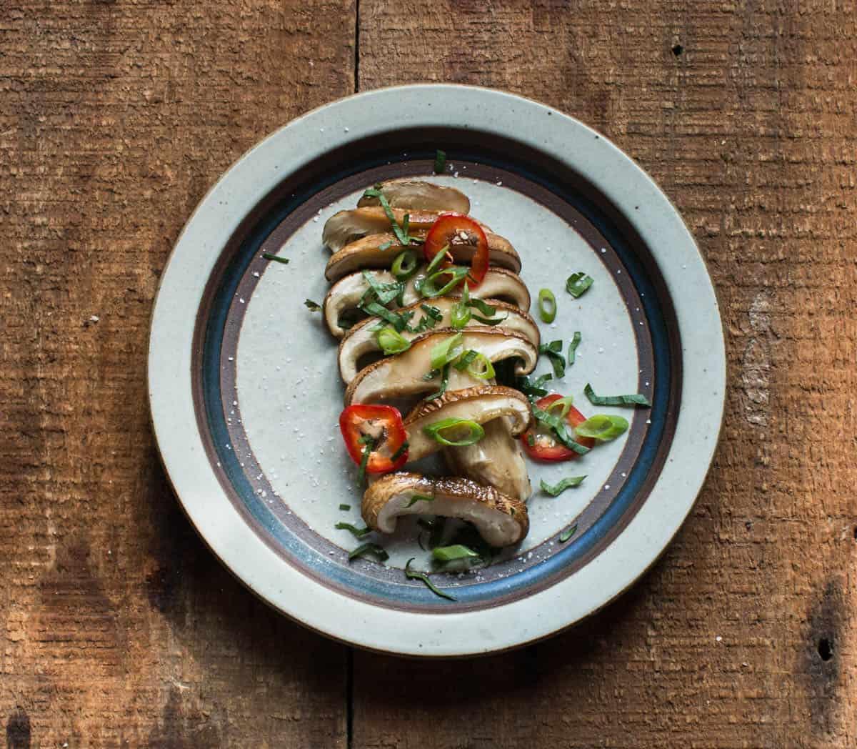 Minnesota matsutake mushrooms baked in parchment