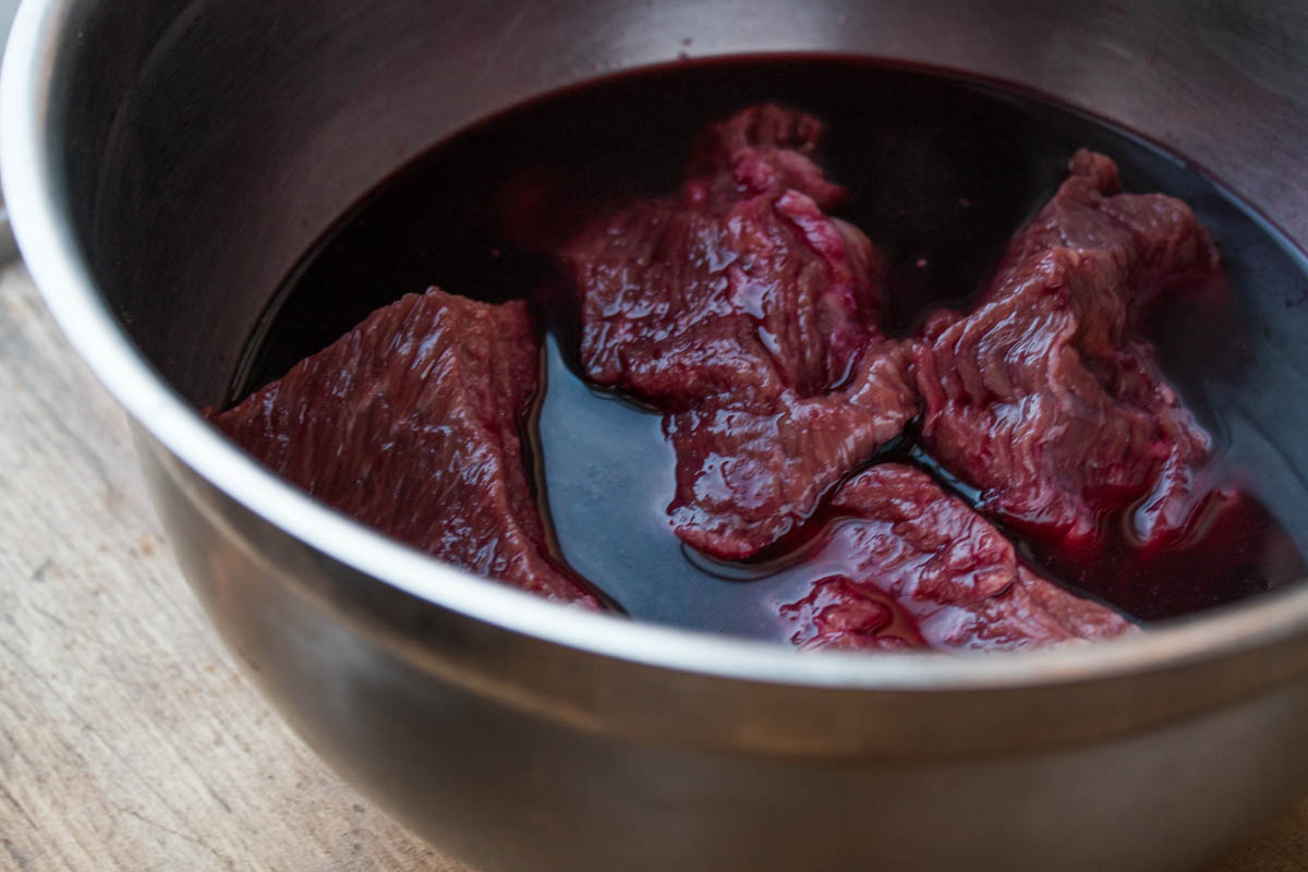 bison marinated in wild grape juice