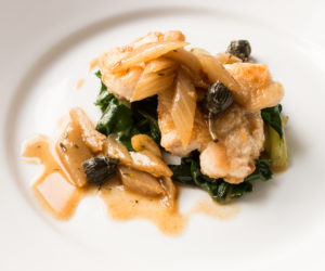 Monkfish with chard, cardoons and dandelion capers