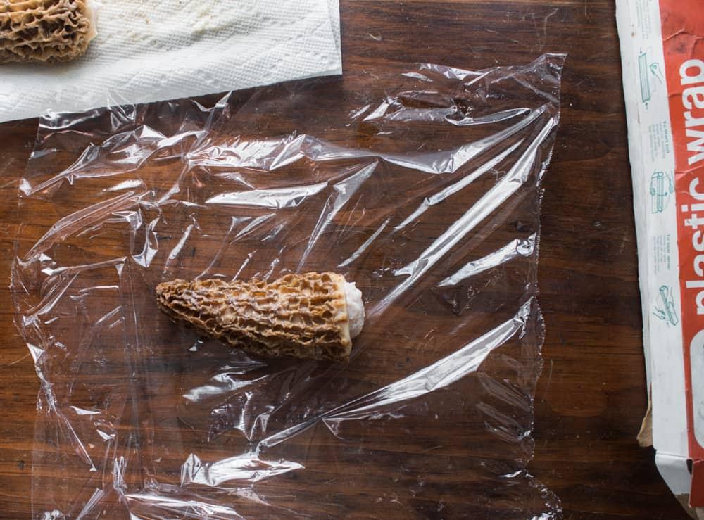 Late season stuffed morel mushrooms