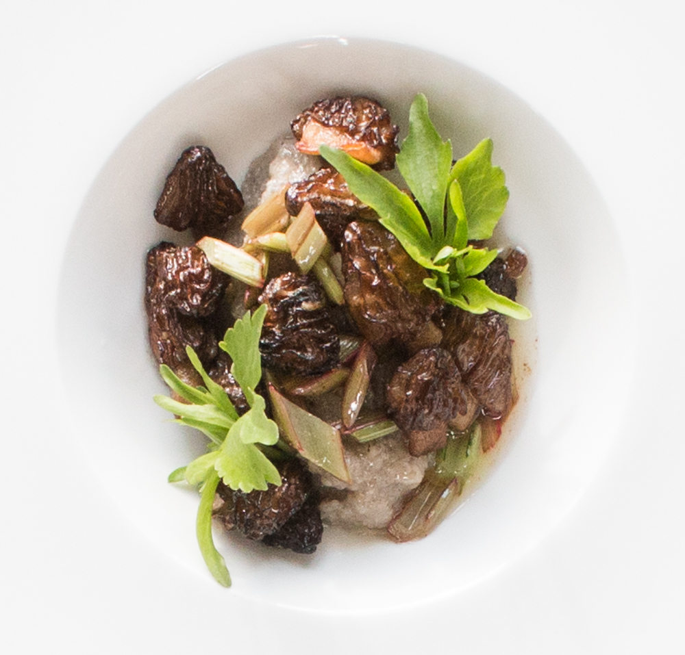 half free morels with sochan and wild rice polenta_