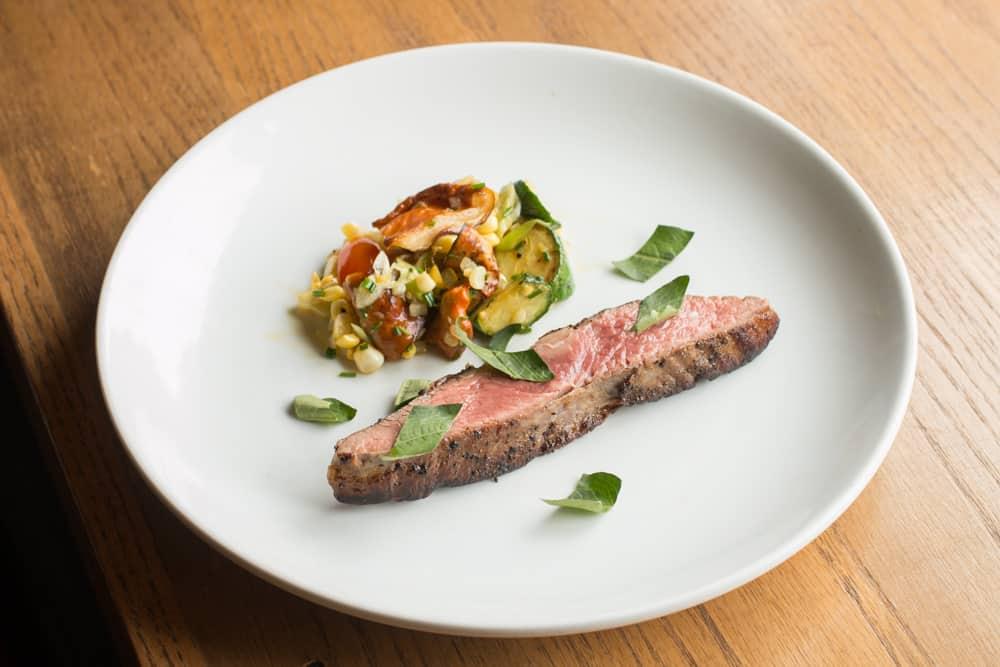 Flank Steak with Vietnamese Coriander and Lobster Mushroom Hash