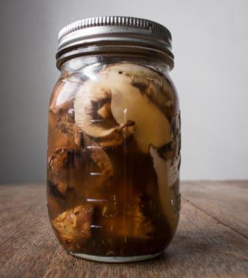 pickled, grilled, hedgehog mushrooms