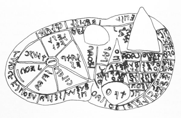 A bronze Etruscan liver engraved with the methods of divining knowledge from the liver of animals.