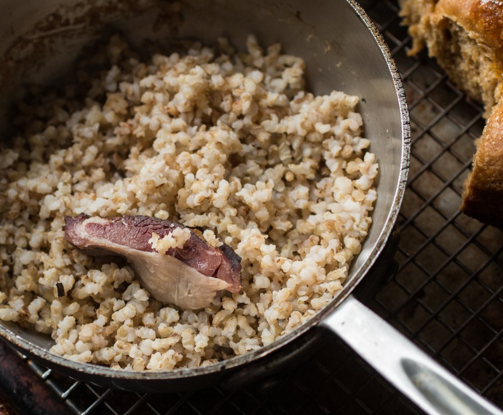 Rice with bacon and garum