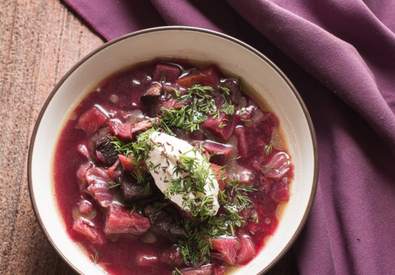 Wild game borcht with venison, canadian goose, dill, wild grape juice and wild caraway recipe,