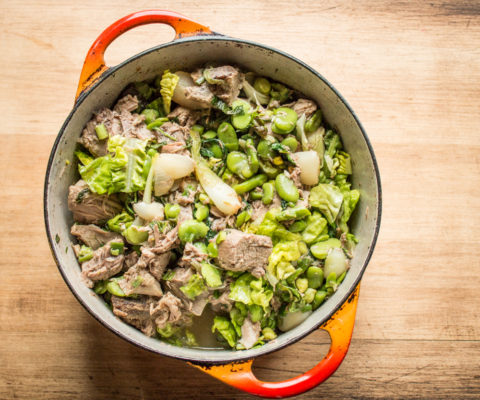Lamb shoulder stew with spring vegetables and nettles