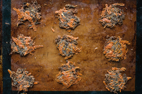 Baking Crown Tipped Coral Mushroom-Parmesan Crackers