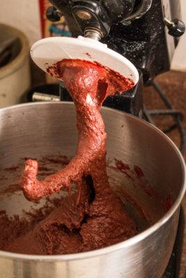 Mixing blood bread dough
