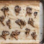 Roasted hen of the woods mushrooms or maitake.