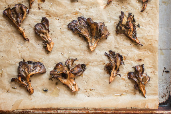 Roasted hen of the woods mushrooms or maitake.