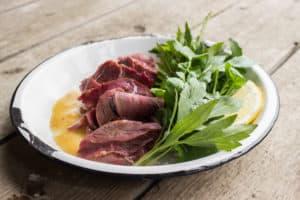 venison ham, watercress, sochan