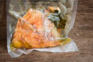 Sous vide, frozen wild chicken of the woods mushrooms