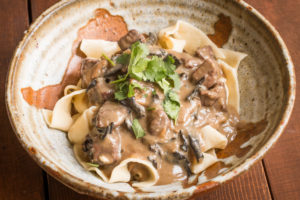 Venison stroganoff with dried wild mushrooms