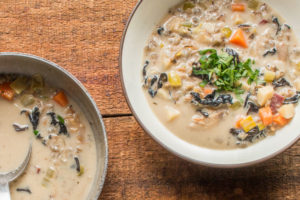 Turkey wild rice cream soup with black trumpet mushrooms recipe