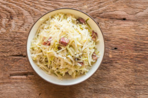 Braised cabbage with venison bacon and wild caraway recipe