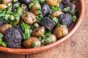 Fried blood sausage and potato hash