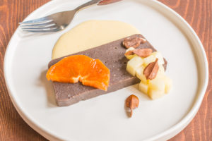 Nannyberry pudding with orange creme anglaise, butternuts, apples and persimmons recipe