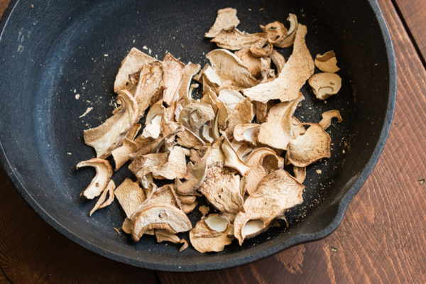 Toasting dried wild porcini in cast iron