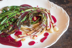 Grilled Ramps with Chokecherry Sauce Recipe (2)