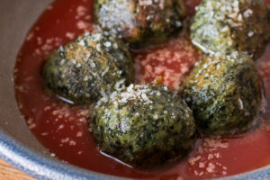 Gnudi dumplings made with foraged herbs recipe