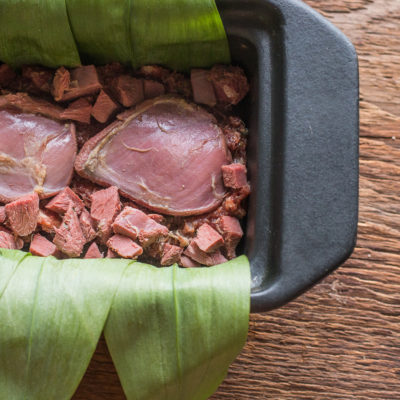 Venison liver terrine with pigeon, ramp leaves and wild ginger recipe