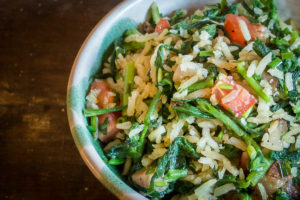 Toasted rice with campion or arroz con collejas recipe