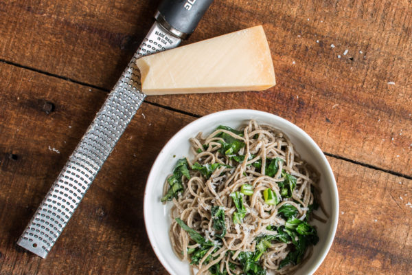 Wild rice flour spaghetti with brown butter, wild chervil and parmesan