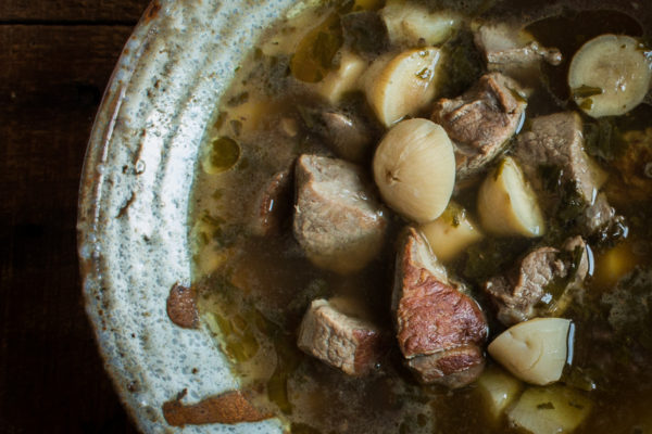 Bison wohanpi stew with timpsila, sunchokes, wild onions and hickory nut oil