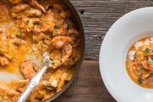 Braised lobster mushroom with tomato and leek recipe