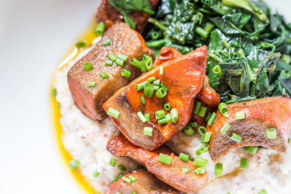 Lobster mushroom confit recipe with polenta and wilted greens