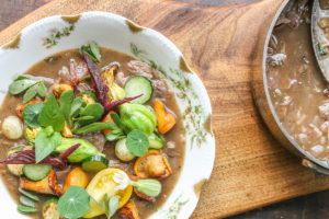 Groundhog or woodchuck stew with garden vegetables recipe