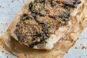 Baked fish with black trumpet mushroom crust recipe