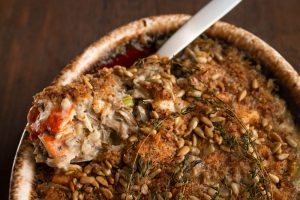 Wild rice casserole with wild mushrooms recipe